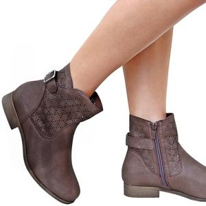 Brown Distressed Perforated Mid-Calf Booties Boot